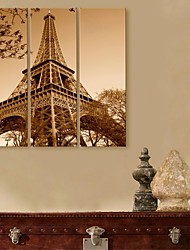 E-HOME® Stretched Canvas Art Iron Tower Decorative Painting  Set of 3
