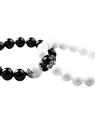 Valentine'S Day Natural Obsidian Couple Bracelet(2Pcs)