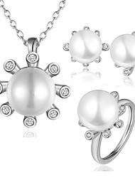 Mode Silber Zinn-Legierung rosig vergoldeten Perlen Schmuck-Set (1 Set)