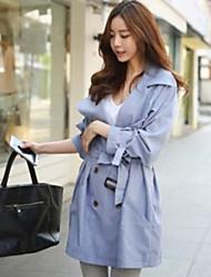 NYO Women's Long Sleeve Slim Fashion Lapel Neck Temperament Tie Overcoat