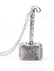 Unisex Thor's Hammer Necklace Silver Alloy Movie Pendant Necklace(1 Pc)
