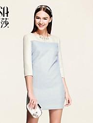 OSA 2015 весной новый приход женщин высокой талии три четверти рукав вырос жаккарда элегантное платье карандаш