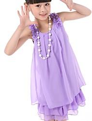 Girl's Imitation Pearl Sleeveless Chiffon Dress(with Necklace)