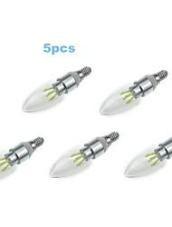 5pcs 4w e14 450lm 6000-6500k cor branca fria levou luz de velas de incandescência (85-265V)