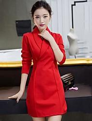 Frauen Revers Mode elegante Kleider (weitere Farben)