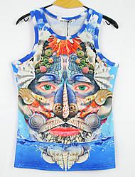 moda impressões 3d camisa sem mangas t dos homens mclean