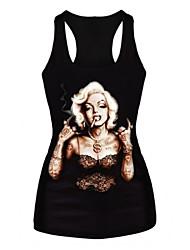 женская Мэрилин Монро печати жилет сексуальный моды рукавов футболки