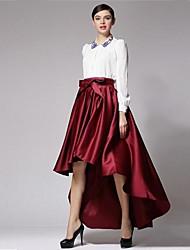 moda high-low barra assimétrica saia longa das mulheres.