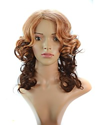 20 Inch Women Brown Gradient Curly Long Synthetic Wigs