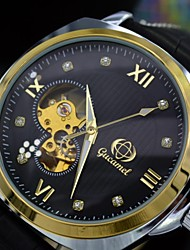Men's Auto-Mechanical Watch Diamonds Dots Dial Automatic Self-Winding Skeleton Sports Watches