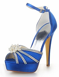 Women's Summer Heels Satin Wedding Stiletto Heel Pearl Black / Blue / Yellow / Pink / Purple / Red / Ivory / White / Silver / Champagne