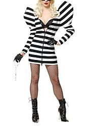 prisioneros vestido cosplay manga larga a rayas de las mujeres adultas traje de halloween