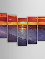 pintura a óleo paisagens modernas conjunto costa crepúsculo de 5 pintados à mão lona, com quadro esticado