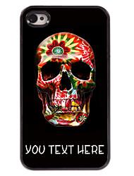 gepersonaliseerd geval kleurrijke schedel ontwerp metalen behuizing voor de iPhone 4 / 4s