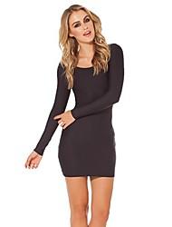 Frauen schwarze Langarm-Rundhals-Paket Hüfte dünnes Kleid