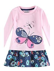 Girl's Round Collar Embroidery Dress Cotton Long Sleeve Dress Kids Dresses(Random Print)