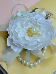 Graceful Pearl Chain Small Rose Silk Wedding Wrist Corsages  (More Colors)