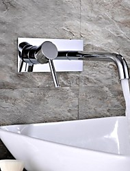 HPB Contemporary Chrome Finish Brass Two Holes Single Handle Wall Mounted Bathroom Sink Faucet