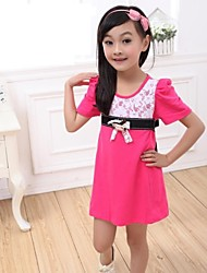 Girl's Green / Red Dress Cotton Summer
