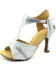 Customizable Women's Dance Shoes Latin/Salsa Satin/Sparkling Glitter Customized Heel Black/Blue/Red/Silver/Gold