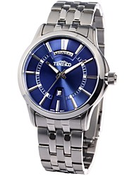 Time100 Men's Fashion Round Case Classic Business Stainless Steel Strap Waterproof Quartz Watch(Assorted Colors)