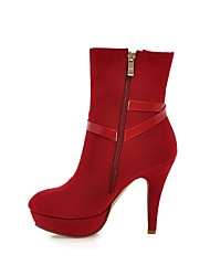 Women's Shoes Leatherette Spring / Fall / Winter Platform / Round Toe / Fashion Boots Dress Stiletto Heel BuckleBlack / Purple / Red /