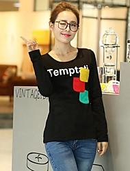 Mulheres Camiseta Casual Simples Outono / Inverno,Estampado Vermelho / Branco / Preto Algodão Decote Redondo Manga Longa Média