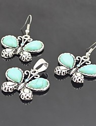 Toonykelly Vintage Antique Silver Butterfly Turquoise with Crystal(Earring and Necklace) Jewelry Set