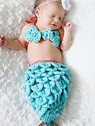 PC 1 niño chico Pequeño bebé sirena gorrita traje sombreros animales tejer foto fotografía apoyos 0-2 meses