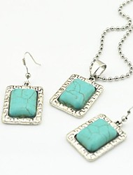 Toonykelly Vintage Antique Silver Plated Oblong Turquoise Stone(Earring and Necklace) Jewelry Set