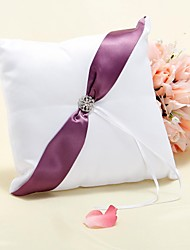 Ring Pillow In Purple Sash With Rhinestones