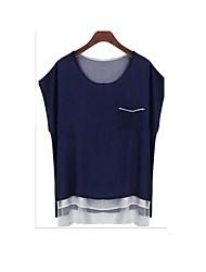 Women's Blue/Green Blouse , Casual Crew Neck Short Sleeve