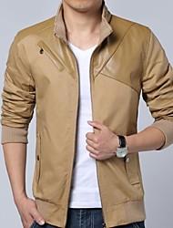 Men's Fashion Leather Stitching Jacket