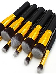 10pcs Gold Tube Black Handle Cosmetic Makeup Brush Set