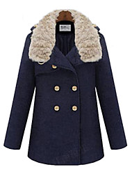 Women's Coat,Solid Long Sleeve Winter Blue / Beige Polyester Thick