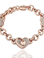 Individual Novel Women's Love White Rhinestones Rose Gold Plated Tin Alloy Chain & Link Bracelet(Rose Gold)(1Pc)