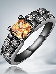 Classic Orange Zircon Black Gold Plated Alloy Statement Rings(1pc)