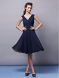 Homecoming Knee-length Chiffon Bridesmaid Dress - Dark Navy A-line V-neck