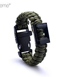 Lureme® Simple Style Polyester Weave Outdoor Survival Escape  Whistle Compass Parachute Cord Bottle Opener Bracelet