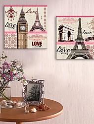 E-Home® Leinwand bist ein Vase und europäische Architektur dekorative Malerei Satz 2