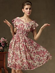 Women's Vintage Short Sleeve Floral Print Chiffon Dress