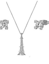 Bridal Jewelry Set 18K Silver Plated CZ Diamond Certified Eiffel Tower Necklace Earring Engagement