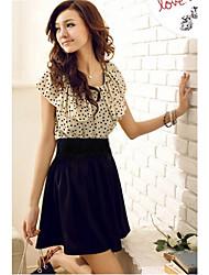 Polka Dots Ruffle Splicing Mini Dress(without belt)