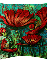 Magical Red Flowers Velvet Decorative Pillow Cover
