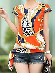 Women's Print Blouse, V Neck Short Sleeve