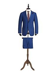 azul soild tailorde ajuste traje de lana