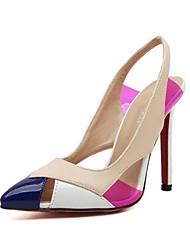 Women's Spring / Summer / Fall Heels / Pointed Toe Leatherette Dress Stiletto Heel Split Joint Black / Beige
