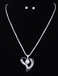 Women's Fashion Pearl Heart Silver Alloy (Includes Necklace&Earrings) Jewelry Set (1 Set)