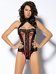 sexy preto de renda floral alta tanga pescoço das mulheres para trás e lace-up front lingerie teddy