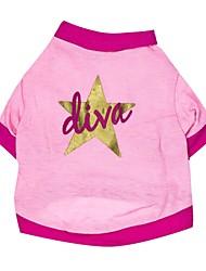 Katzen / Hunde T-shirt Rosa Hundekleidung Frühling/Herbst Sterne